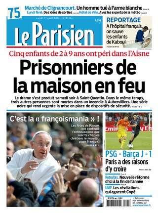 Le Parisien + Cahier Paris du Lundi 1er Avril 2013