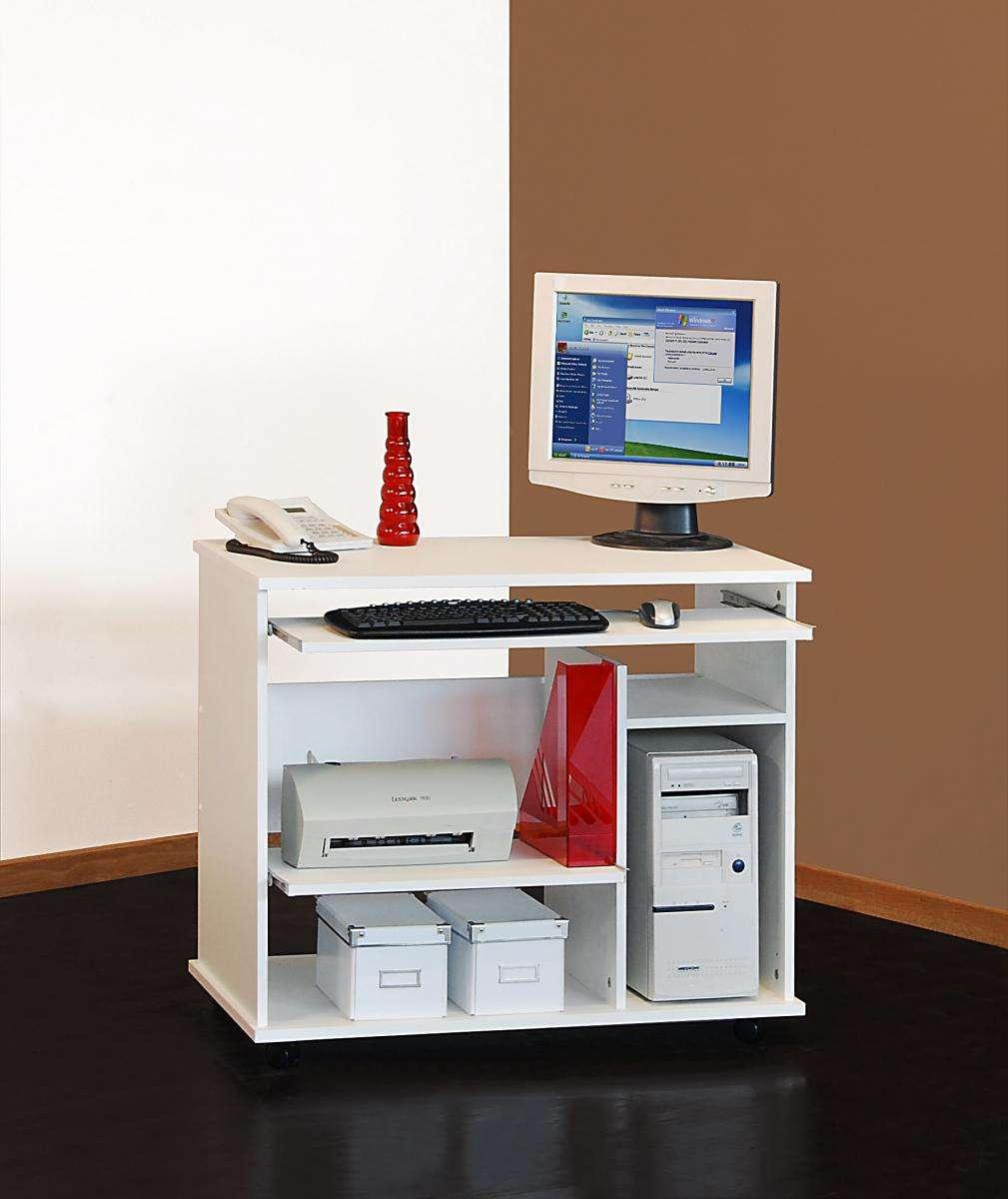 schreibtisch auf rollen computertisch wei b rotisch. Black Bedroom Furniture Sets. Home Design Ideas